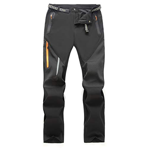LUI SUI Pantalones para Caminar Transpirables al Aire Libre para Hombre, Pantalones tácticos Ligeros a Prueba de Viento, Pantalones de Senderismo de Cintura elástica con Bolsillos con Cremallera