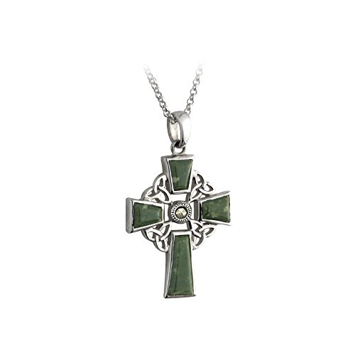 """Biddy Murphy Celtic Cross Necklace for Women - Irish Crucifix Jewelry - 18 Inch Chain - 1 ⅛"""" x ⅞"""" Sterling Silver & Connemara Marble Pendant - Womens' & Girls' Accessories & Gifts"""