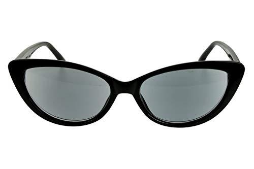 Leesbril met dioptrieën voor vrouwen Cateye Cat Design met koffer zwart transparant glanzend plastic 1.0 1.5 2.0 2.5 3.0 3.5 Dioptrien 3.5