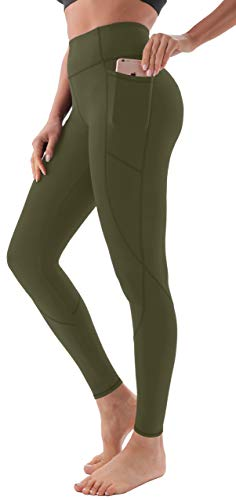 AFITNE Yoga Pants for Women High Waisted Tummy Control Athletic Leggings with Pockets Workout Gym Yoga Pants Army Green - L