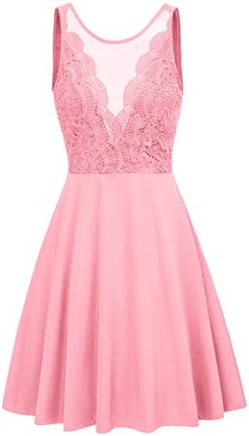 Cocktail Dresses for Women Evening Party Elegant Lace Dress Large Pink product image