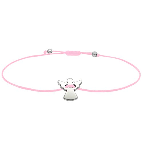 SelfmadeJewelry Schutzengel Armband - Silber Schutzengelchen auf Rosa Textilband Glücksbringer