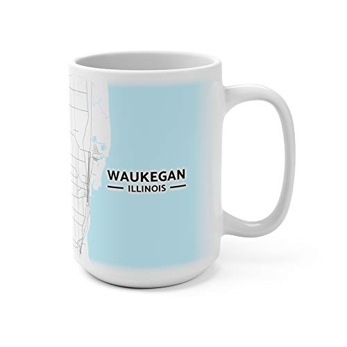 Waukegan, Illinois Map Mug (15 oz)