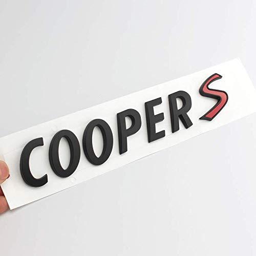 JUULLM Pegatinas 3D ABS para coche con emblema trasero y letras compatibles con Mini Cooper S R55 R56 R57 R58 R59 R60 R61 F54 F55 F56 F60 3D logo del maletero de coche (nombre del color: negro)