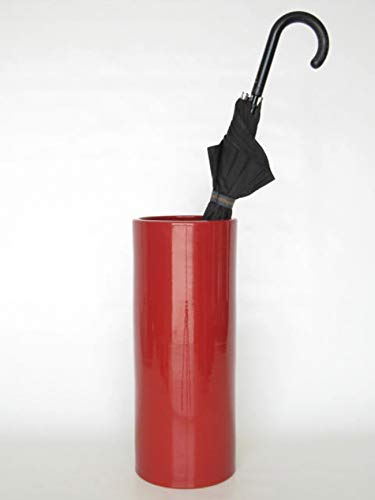 POLONIO - Paraguero de Ceramica Rojo de 50 cm - Bastonero de Ceramica para Entrada y Pasillo - Jarron de Ceramica Grande Suelo Color Rojo Granate