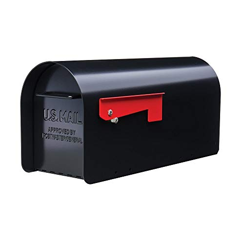 Gibraltar Mailboxes Ironside Large Capacity Galvanized Steel Black, Post-Mount Mailbox, MB801B (1 Unit)