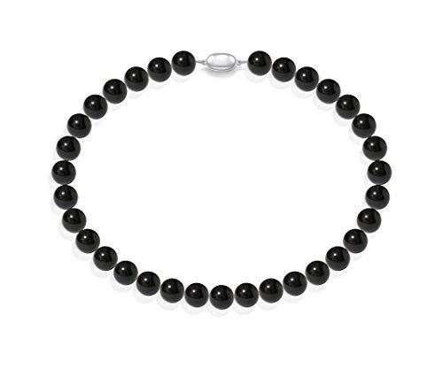 Schmuckwilli Damen Muschelkernperlen Perlenkette aus echter Muschel schwarz 45cm 12mm mk12mm075-45
