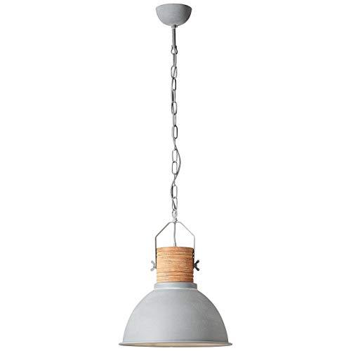 BRILLIANT lamp Frida, lámpara de suspensión 39cm hormigón/madera  1x A60, E27, 60W, adecuado para lámparas estándar (no incluidas)  Escala A ++ a E  La cadena se puede acortar