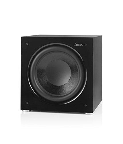 Saxx DS 12 Aktiver Subwoofer, Dauerleistung 250 Watt, Impulsleistung 400 Watt, geschlossener Subwoofer für Minianlagen, HiFi-Anlagen und Heimkino, Frequenzbereich 25 Hz - 270 Hz
