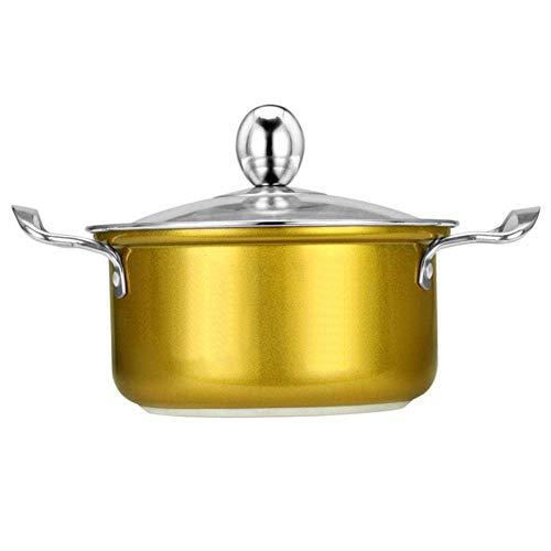 Marmite Mini Marmite Hot Pot de cuisine marmite à soupe avec Marmite Lip en acier inoxydable Ustensiles de cuisson Outils Pot cuisine, Jaune Huangwei7210
