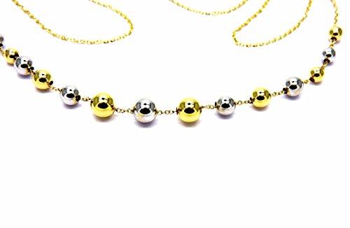 Collana Oro Bianco Giallo 18kt (750) Catenina Girocollo Palline Lucide Collier Bicolore Donna Ragazza