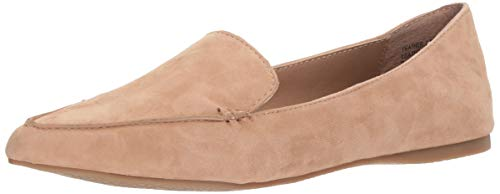 Steve Madden Women's Feather Loafer Flat, Camel Suede, 7 M US