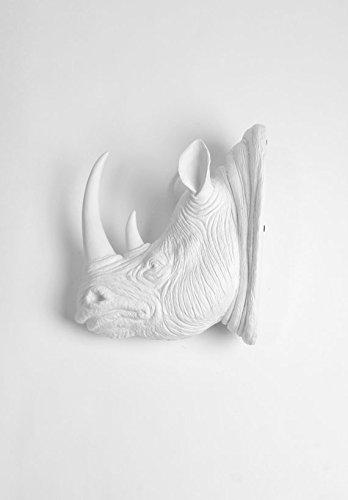 White Faux Taxidermy Rhino Head Wall Mount, The Goliath in White Rhinoceros Decor