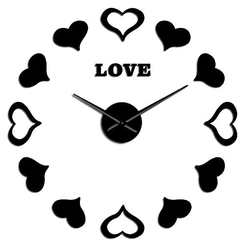 J-Clock Reloj Pared Grande DIY Moderno, símbolo Amor, Pegatina Espejo 3D Metal, Relojes Grandes silenciosos, Decoraciones para el hogar, la Oficina y la Escuela