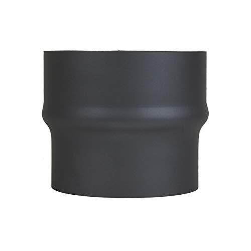 LANZZAS Extensión de tubo de humos de 130 mm a 150 mm de diámetro, color: negro metálico