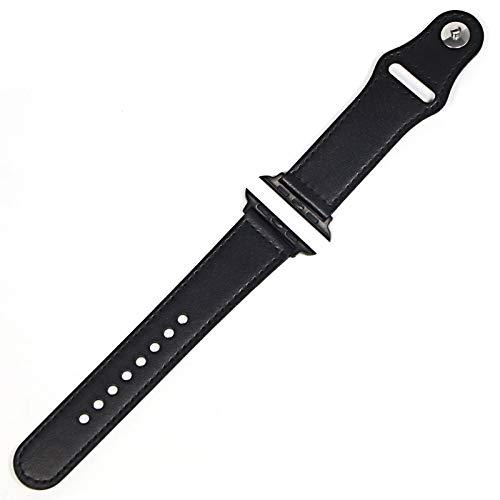 LAAGFC Correa de cuero genuino para Apple Watch Band 42 mm 44 mm Watch 4 5 38 mm 40 mm Iwatch 3/2/1 Correa de repuesto (color de la correa: negro negro, ancho de la correa: 44 mm)