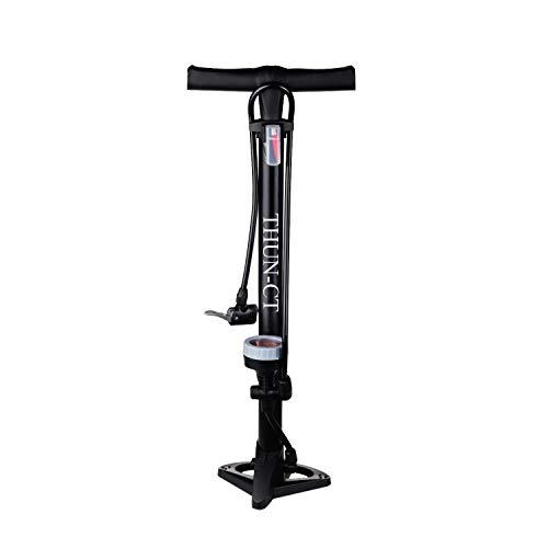 THUN-CT Pompe per Biciclette 160 PSI Pompa da Pavimento Ergonomica per Bici con Manometro e Testa Della Valvola Intelligente, Le Pompe per Biciclette si Adattano alla Valvola Presta e Schrader