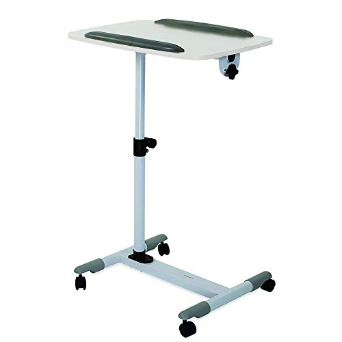 Rolling Laptop Cart, Wheeled Mobile Laptop Bureau, In hoogte verstelbaar bed met kantelbare nachtbank ligstoel lade Lazy Laptop Table