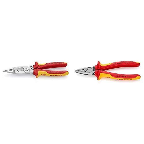 Knipex 13 96 200 Alicate para instalaciones eléctricas cromado aislados con fundas en dos componentes + 97 78 180 Alicate para entallar punteras aislados con fundas en dos componentes