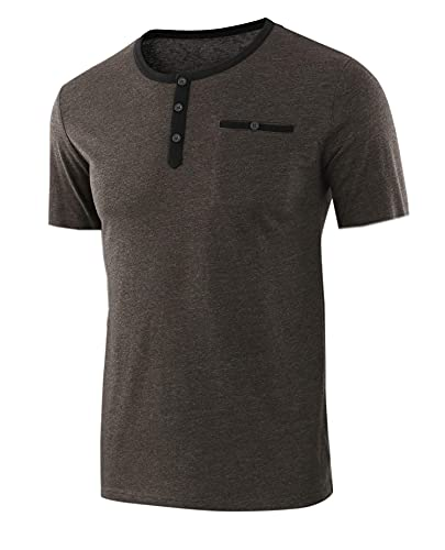Casuales Camisas Hombre Básico Regular Fit Verano Hombre Shirt Botón Placket Manga Corta Deportiva Camisas Moda Cuello Redondo Correr Shirt Wicking Transpirable Camiseta B-Dark Brown XL