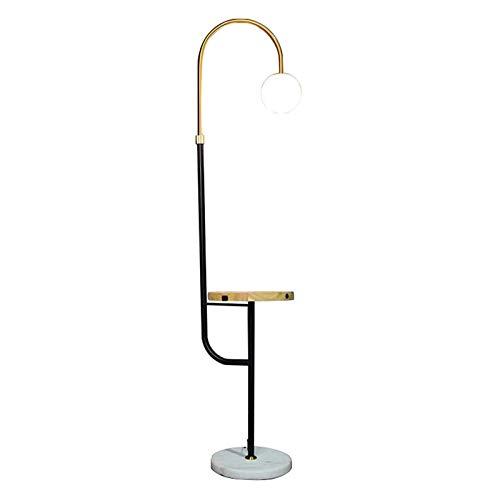 Lámparas de pie Lámpara de pie moderna con mesa de bandeja, lámpara de pie de lectura de arco con pantalla de vidrio esférico blanco Lámpara de pie de poste alto para sala de estar, dormitorio, sala d