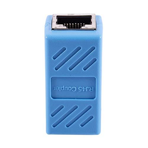 Huante Ethernet Adaptador Rj45 – Acoplador en línea apantallado para conector de extensión de cable Ethernet Cat7 / Cat6 / Cat5E / Cat5 – Hembra a hembra, azul – 1 paquete
