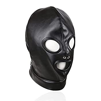 Leather Hood Mask Open Mouth Eyes Full Face Cover Costume Restraint Toys Unisex Nightclub prom