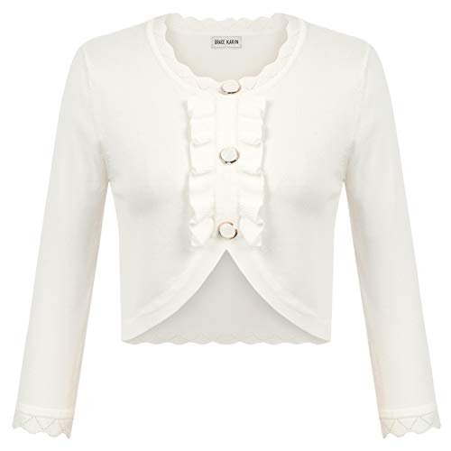 GRACE KARIN Women Button Down Cropped Knitting Bolero Shrug Cardigans Sweaters White M