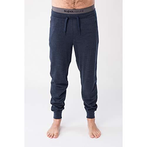 super.natural Pantalon de Jogging Confortable pour Hommes, Laine mérinos, M CITY CUFFED, Taille: L, Couleur: Bleu foncé chiné