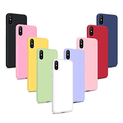 9X Coque pour iPhone XS/iPhone X, Étui Housse Ultra Mince Souple en TPU Silicone, Couleurs de Sucrerie Case Cover - Noir, Bleu, Vert Menthe, Rouge, Blanc, Rose Clair, Violet, Rose, Jaune