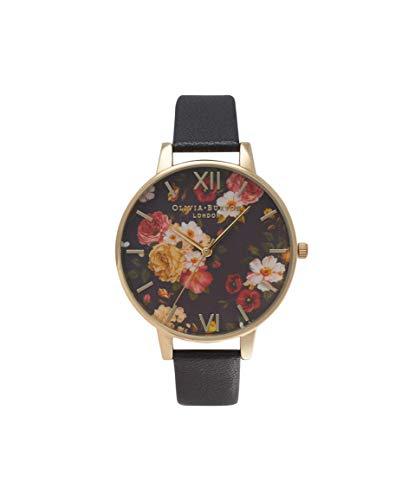 Olivia Burton Damen Analog Japanisch Quarz Uhr mit Echtes Leder Armband OB14WG01