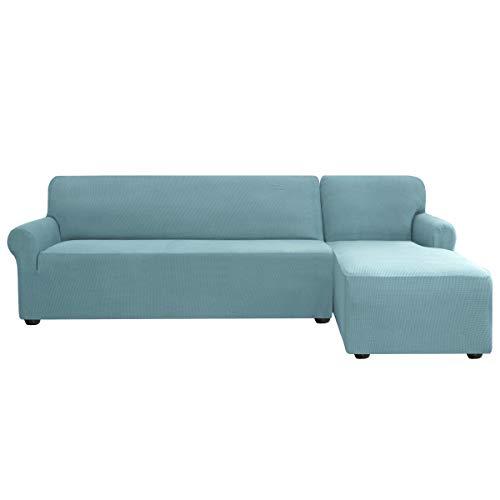 subrtex Sofabezug L Form Stretch Sofahusse Ecksofa Elastisch Antirutsch Eckcouch überwurf Weich Stoff Abwaschbar (Rechts 2 Sitzer, Hellblau)