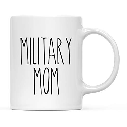 Andaz Press Simple Rustic Farmhouse Kitchen Decor 11oz. Ceramic Coffee Tea Mug Gift, Military Mom, 1-Pack, Includes Gift Box, Minimalist, Birthday Christmas Gift Ideas