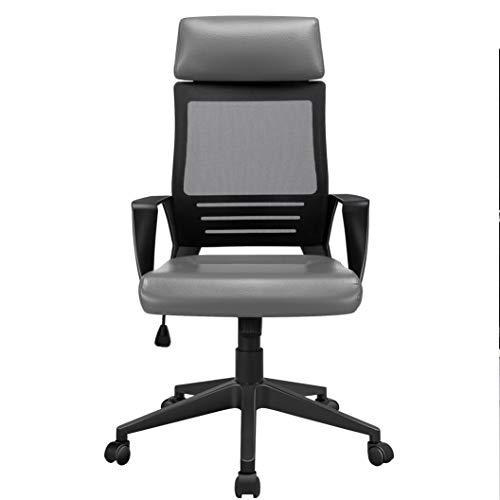 Yaheetech Bürostuhl, Ergonomischer Schreibtischstuhl, Drehstuhl mit Kopfstütze aus Kunstleder, Computerstuhl höhenverstellung, Bürodrehstuhl mit hoher Rückenlehne Mesh Netzbezug Grau