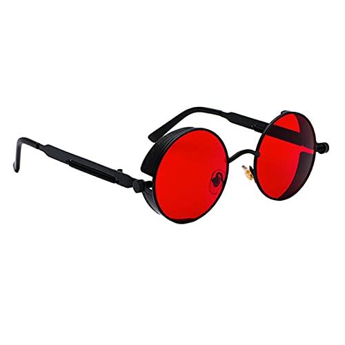 Colcolo Steampunk Retro Vintage Gothic Metal Rodada Círculo Quadro Óculos de Sol Proteção UV, Preto Vermelho