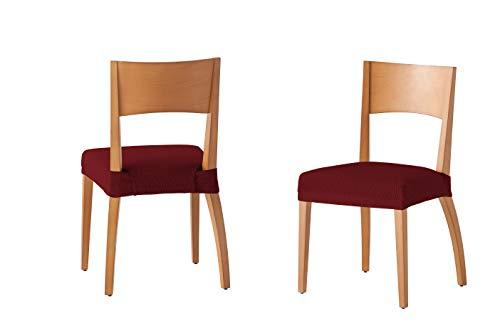 Martina Home Tunez - Funda para Silla, Tela, Funda silla asiento, Burdeos, 24 x 30 x 6 cm, 2 Unidades