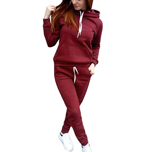 MoneRffi Damen Sportanzug Trainingsanzug Jogginganzug Mode Damen Sport Hoodie Langarm Sweatshirt Pullover Lässig 2-teiliges Set Top + Lange Hose Sportbekleidung Freizeitkleidung Set Outfit