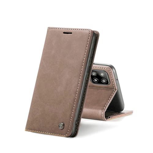 Chocoyi Kompatibel mit Samsung Galaxy A42 5G Hülle Leder,Magnetverschluss Premium PU Leder Flip Hülle,Standfunktion.-Braun