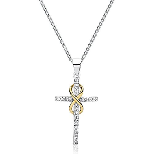 Collar de plata de ley 925 con cristales de Swarovski, chapado en oro de 24 quilates, cruz infinito, cristal, cadena con colgante para mujer, bonita joya para mujer, con caja de regalo