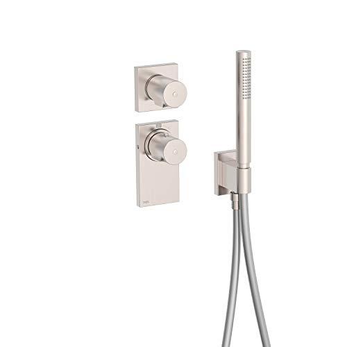 BLOCK SYSTEM Termostática empotrada BLOCK SYSTEM con cierre y regulación de caudal (1 vía). · Cuerpo empotrado termostático incluido · Ducha móvil anticalcárea. · Flexo SATIN.