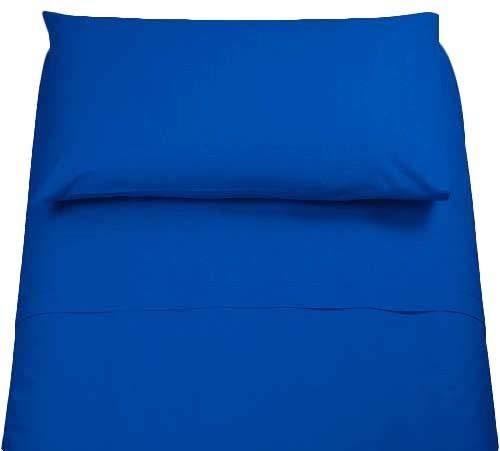 Irge Lenzuola Cotone Puro 100% Matrimoniale Tinta Unita sotto sopra 2 FEDERE Vari Colori (Blu Navy)