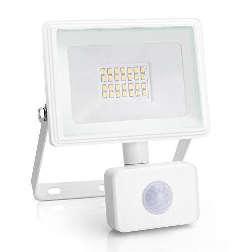 Aigostar 20W Foco LED con Sensor Movimiento PIR,1800LM Super Brillo Focos LED Exterior,IP65 Impermeable,Blanco Natural 4000K Luz de Seguridad para Jardín, Patio,Garaje, etc.