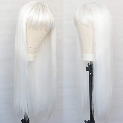 Luwigs Platinum White Synthetic Wigs with Bangs Synthetic Hair Long Straight Middle Part No Lace Wigs for Women Replacement Wigs with Bangs 22inch