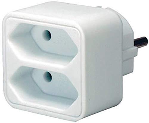 Brennenstuhl meervoudige stekkerdoos, stekkeradapter 2-voudig eurostopcontact met kinderbeveiliging, kleur: wit Single 1 Stuk wit