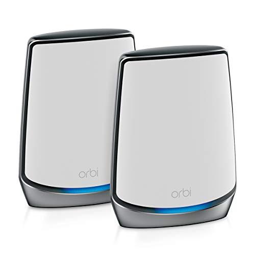 Netgear Orbi RBK852 - Sistema Mesh Wi-Fi TriBanda 6 AX6000, Cobertura de hasta 350 m² y 60 Dispositivos, Kit de 2, con 1 Router y 1 satélite