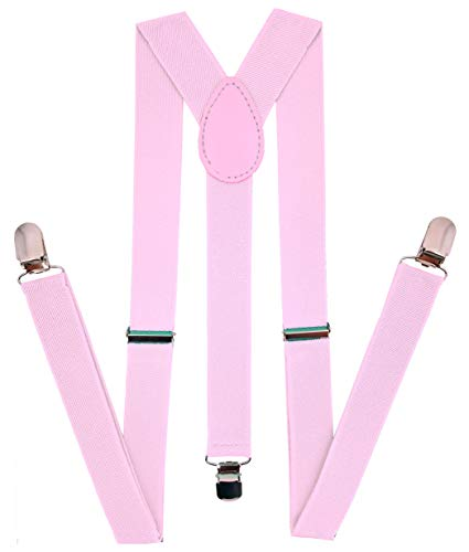 Navisima Women Adjustable Elastic Y Back Style Suspenders With Strong Metal Clips, Light Pink