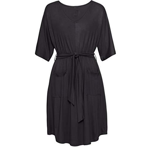 Frauen einfarbig Schnürungkleid Mode lässig V-Ausschnitt Fünf-Punkt-Ärmel O-Ausschnitt Minikleid lose hohe Taille Sommertasche Kleid Sonojie