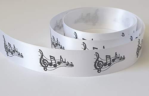 25mm bianco nota musicale nastro satinato double-face disponibile in 1/3/5& 10metre lunghezze, 10 mtrs