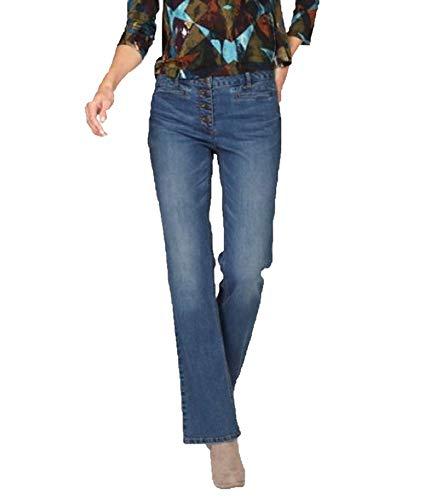 Aniston Hose Jeans-Hose modische Damen Stretch-Jeans mit Washed-Out Effekt Freizeit-Hose Schlag-Hose Blau, Größe:34