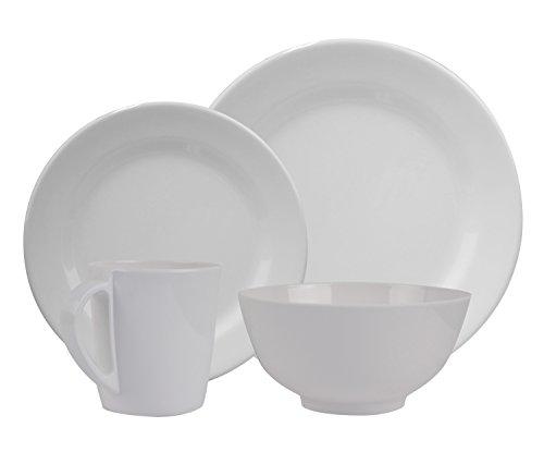HEKERS Vajilla de 100% melamina Purely blanco/redondo, juego a elegir 1, 2, 4 o 6 personas, apto para lavavajillas